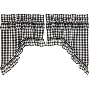 Annie Buffalo Check Black Ruffled Swag Curtains