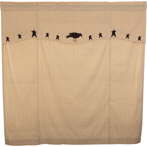 Kettle Grove Shower Curtain with attached Appliqué Star & Crow Valance
