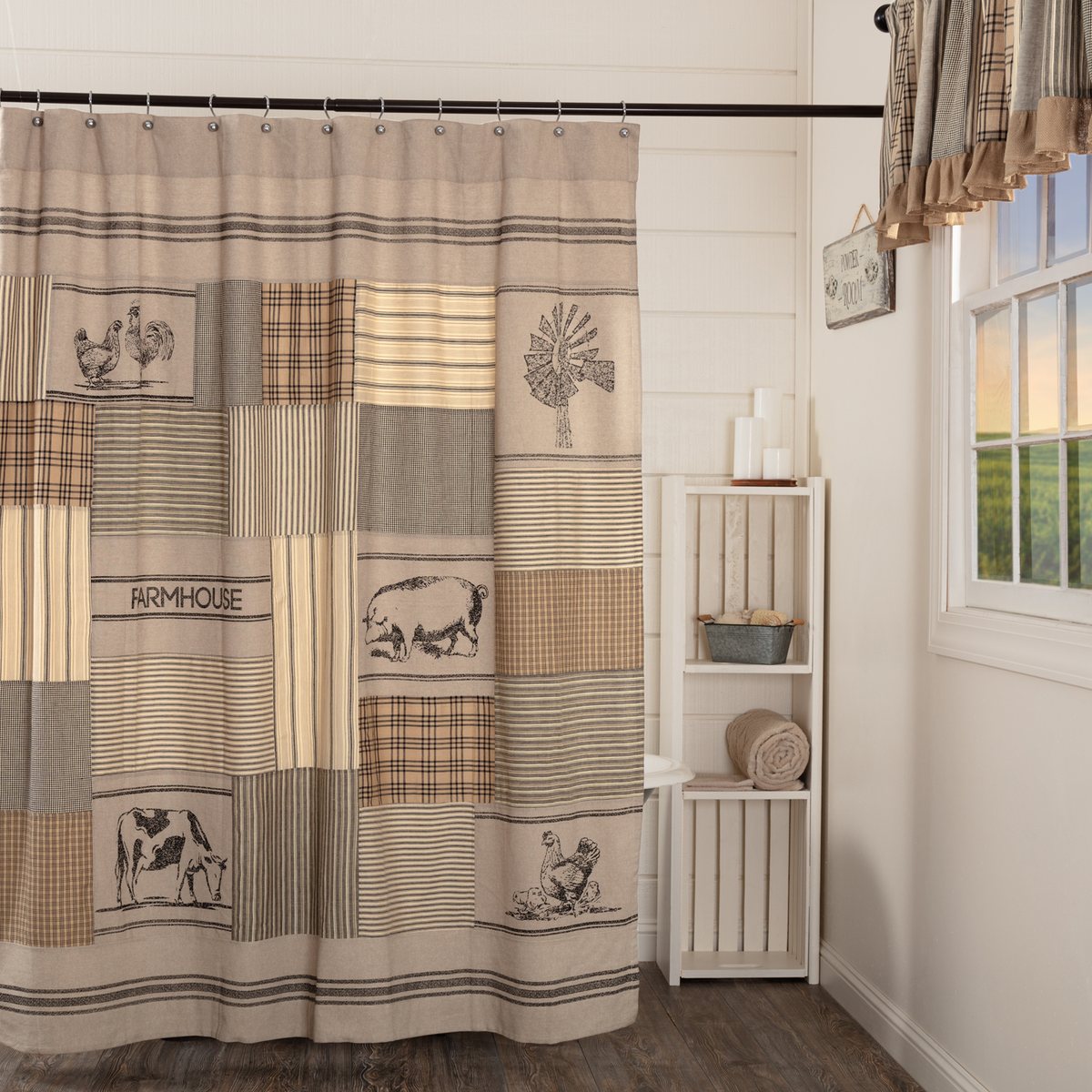 Sawyer Mill Charcoal Stenciled Patchwork Shower Curtain DL Country Barn