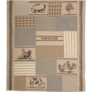 Sawyer Mill Charcoal Farm Animal Quilted Throw