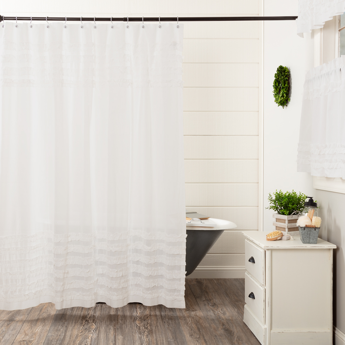 White Ruffled Sheer Petticoat Shower Curtain