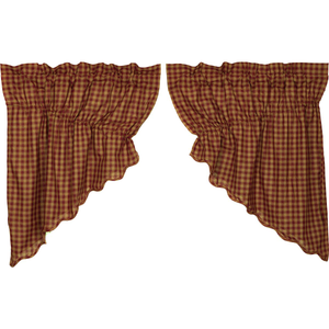Burgundy Check Scalloped Prairie Swag Curtain