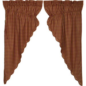Burgundy Check Scalloped Prairie Curtain