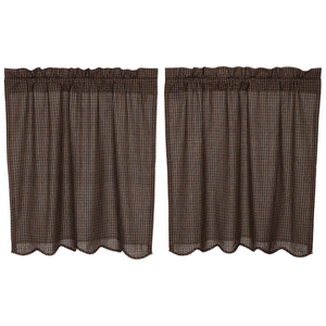 "Kettle Grove Plaid Tier Curtains 36""L"