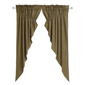 Tea Cabin Green Plaid Prairie Curtain - Set of 2 63x36x18  by VHC Brands