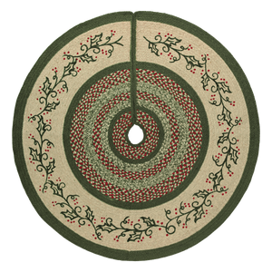 Holly Berry Jute Stenciled Tree Skirt 48""