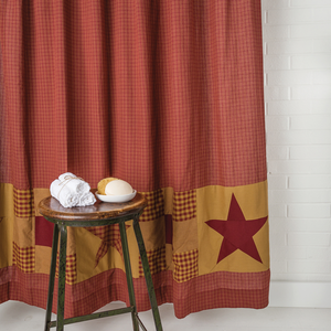 Ninepatch Star w/Patchwork Border Shower Curtain