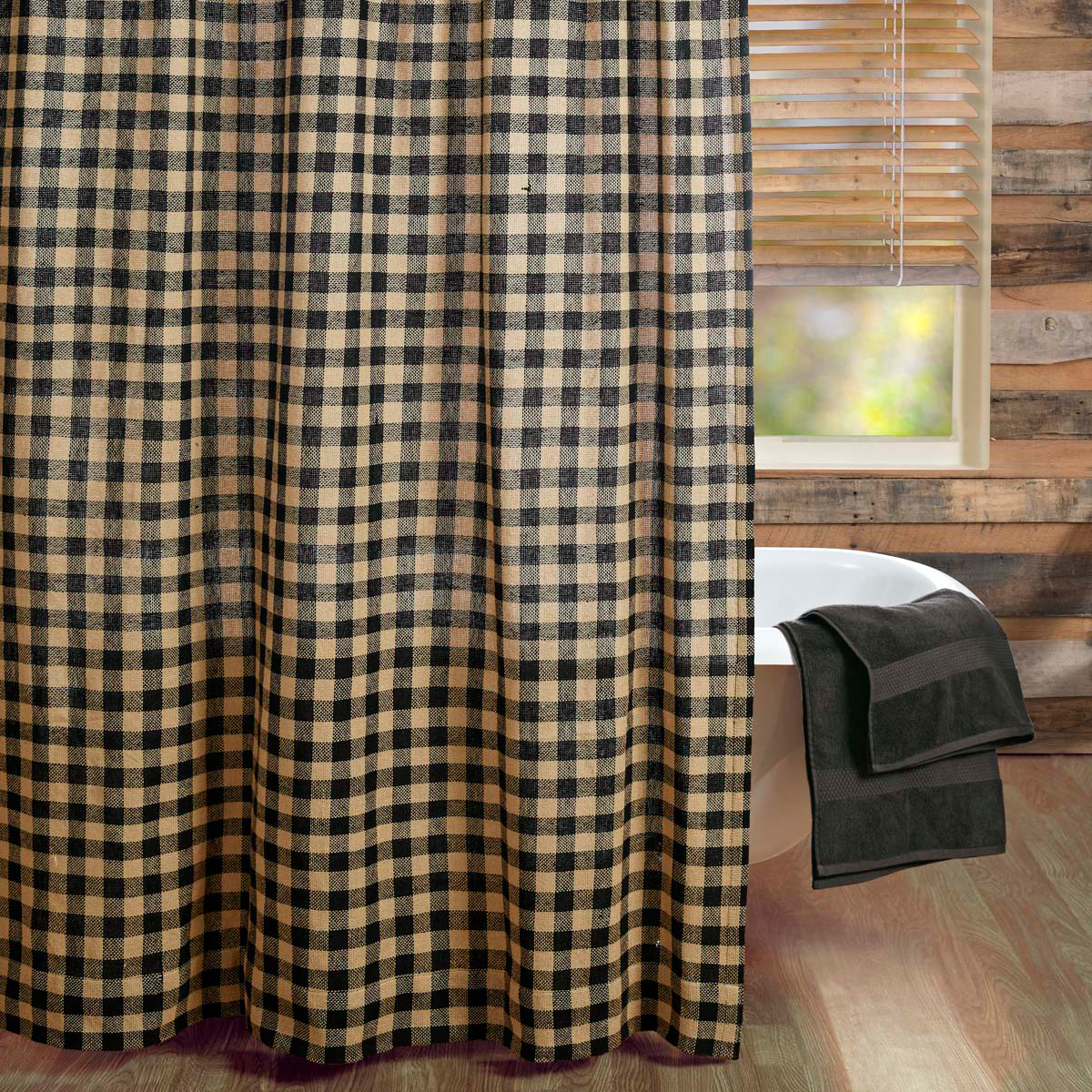 Burlap Black Check Shower Curtain Country Primitive Dl Country