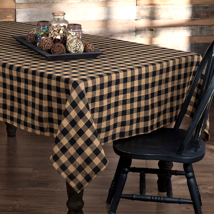 Burlap Black Check Tablecloth (Choose Size)