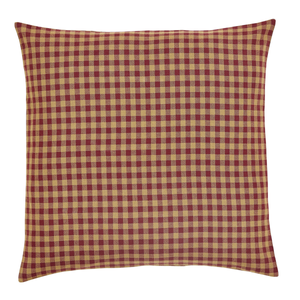 Burgundy Check Fabric Euro Sham 26 inch