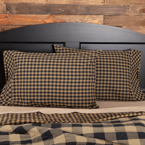 Black Check Standard Pillowcase  - Set of 2