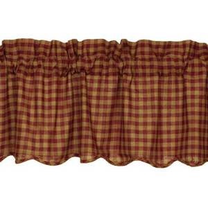 Burgundy Check Scalloped Valance