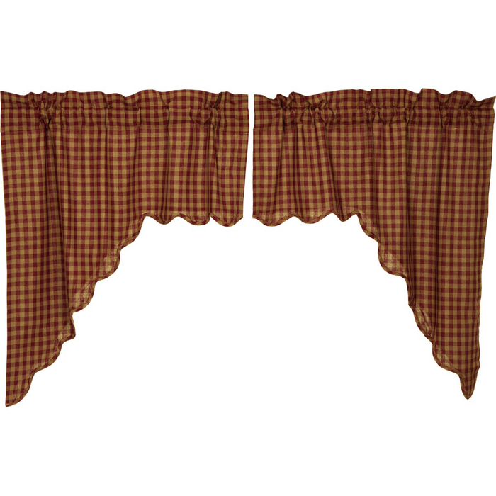 Burgundy Check Scalloped Swag Curtains