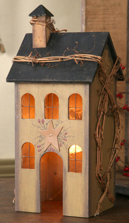 Primitive House Lighted Tan Dl Country Barn