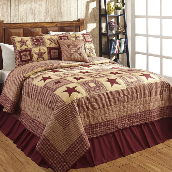 Colonial Star Burgundy & Tan Quilted Bedding Set - 3pc. Luxury King