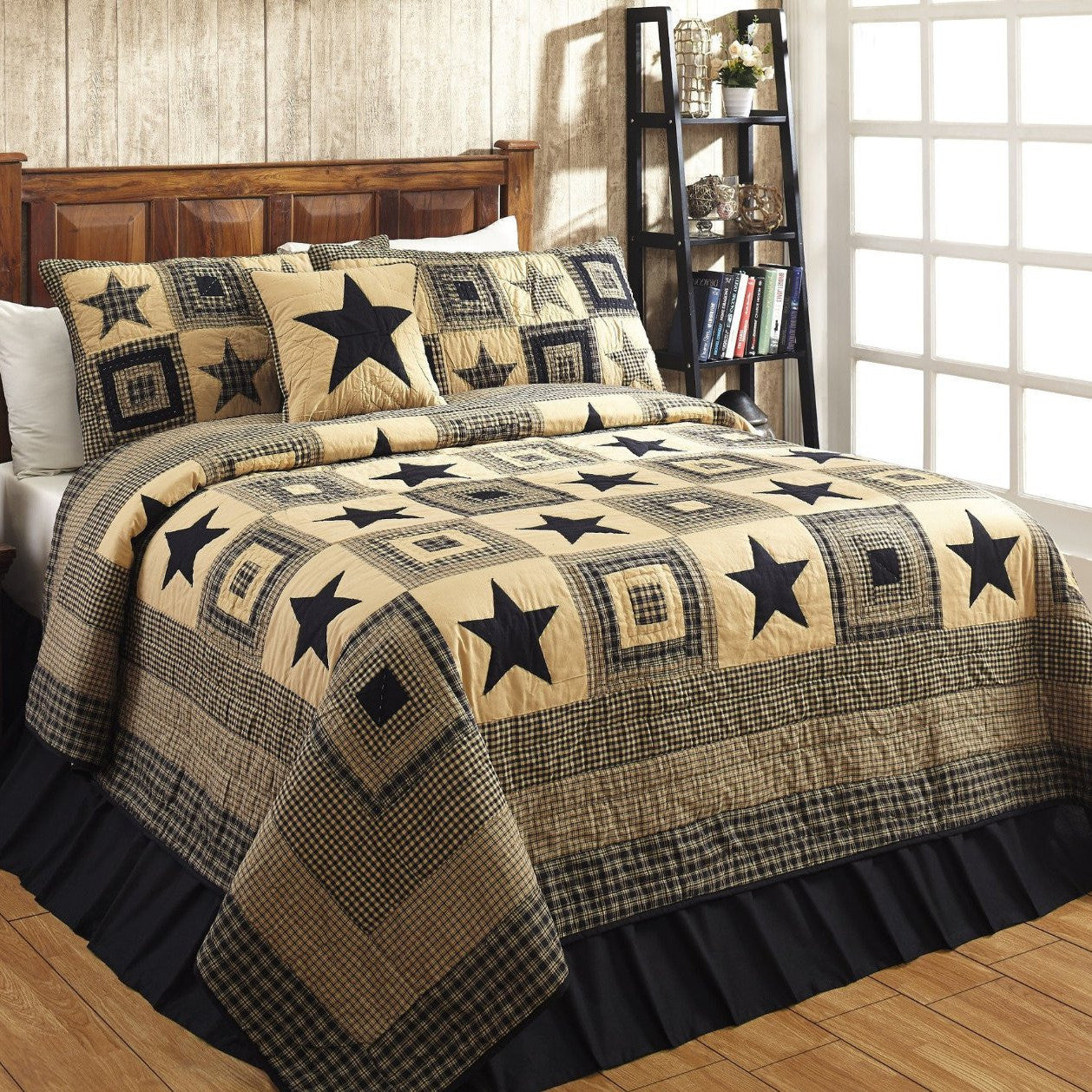 Colonial Star Black Tan Quilted Bedding Set 3pc Queen Dl