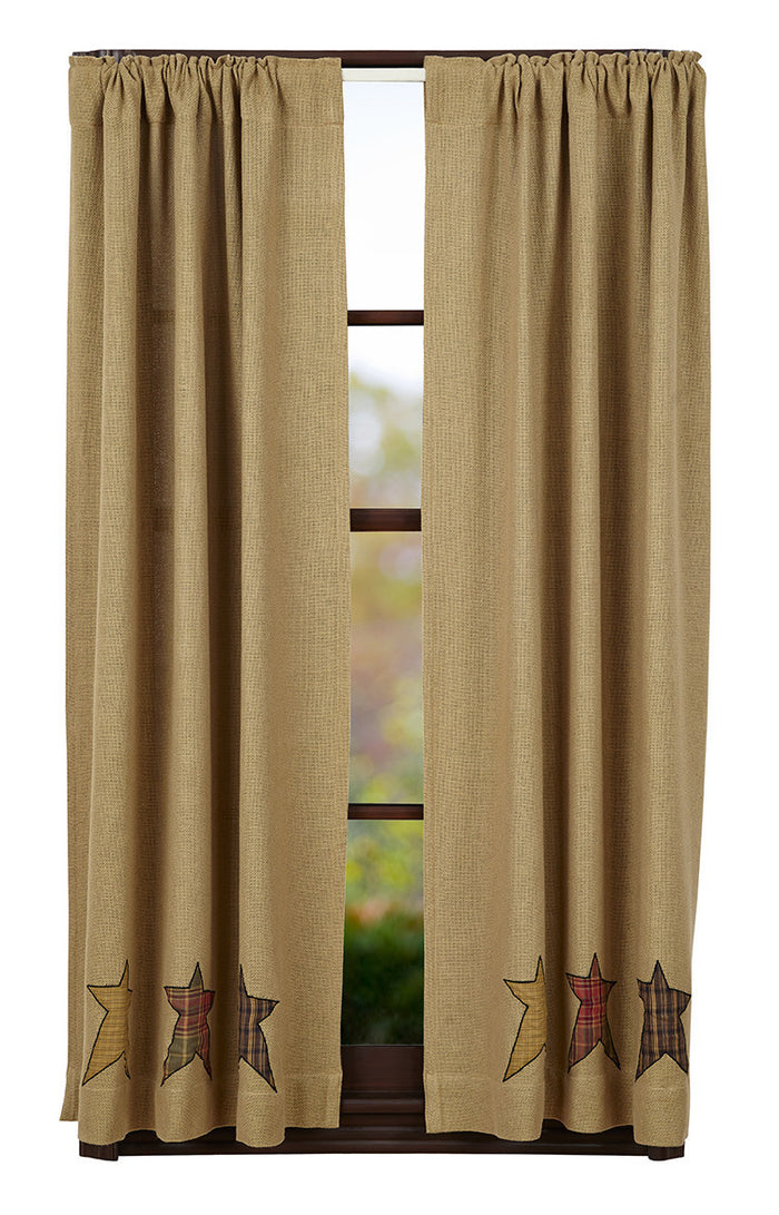 Stratton Burlap Applique Star Panel Curtain