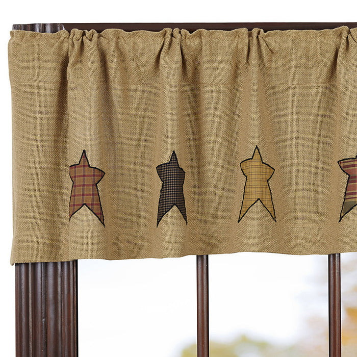 Stratton Burlap Appliqued Star Valance