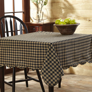 Black Check Scalloped Tablecloth by VHC Brands - DL Country Barn