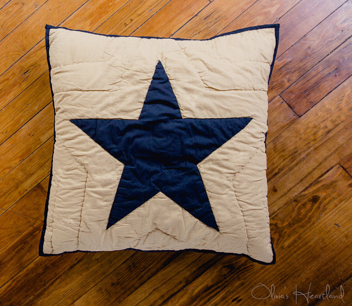 Black and Tan Star Quilted Euro Sham - 26 inch