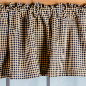 Black & Tan Checkered Valance 16x72