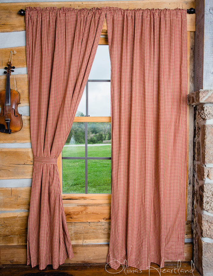 "Burgundy & Tan Checkered Panel Curtains - 84""L"