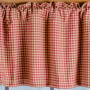 Burgundy & Tan Checkered Valance