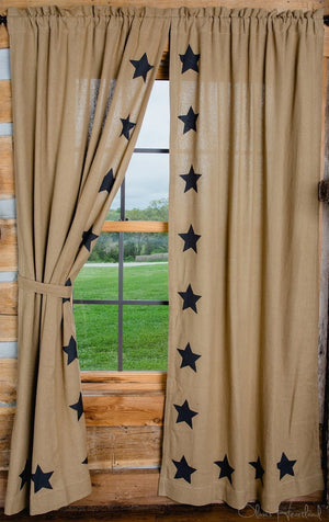 "Burlap Natural Star Stenciled Panel Curtain 84""L"
