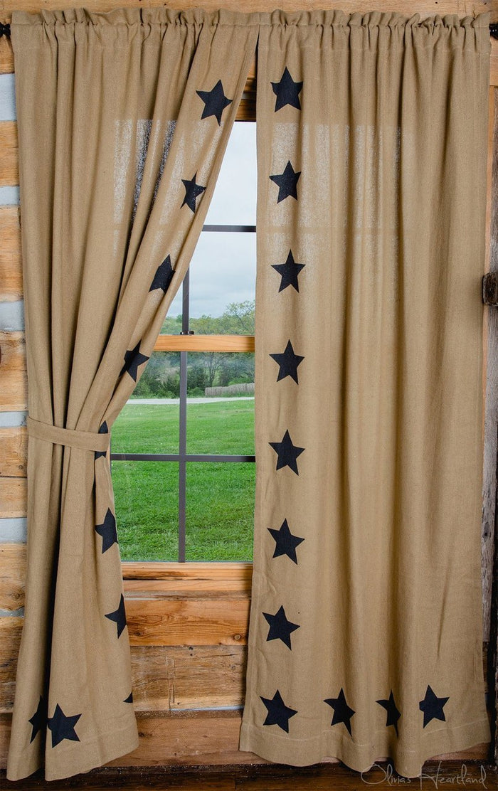 "Burlap Natural Tan Star Stenciled Panel Curtain 84""L"