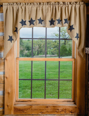 Burlap Natural Tan Star Stenciled Swag Curtain