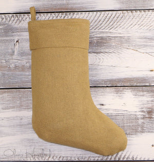 Burlap Natural Christmas Stocking