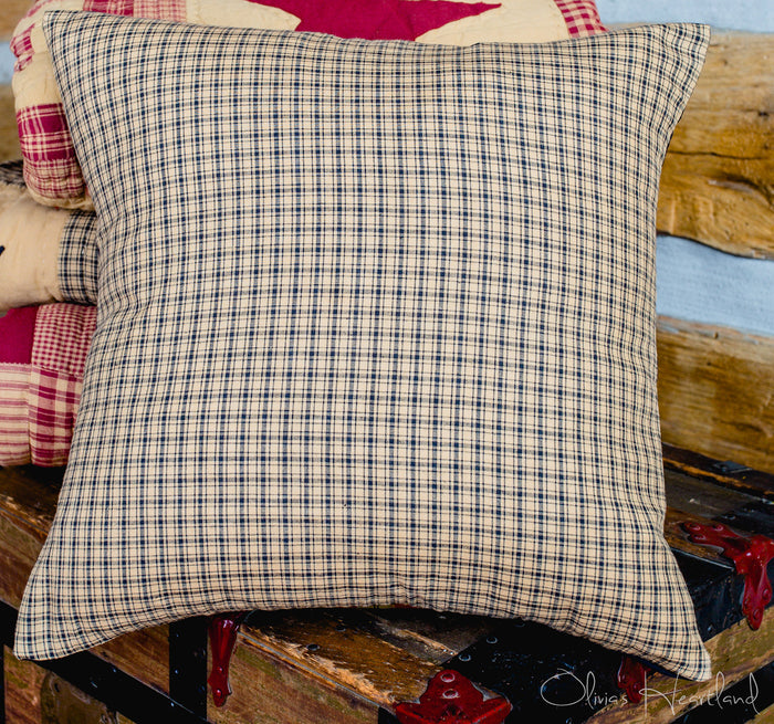 Colonial Star Black and Tan Fabric Checkered Pillow Cover - 16 inch