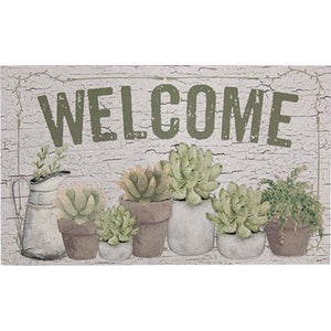 Welcome Floor Mat w/ Succulents