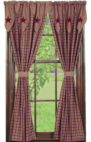 "Vintage Star Burgundy Panel Curtains 84""L"