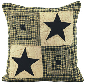 Vintage Star Black Quilted Pillow Cover 16x16