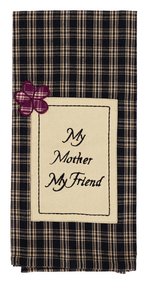 """My Mother"" Plaid Dishtowel"