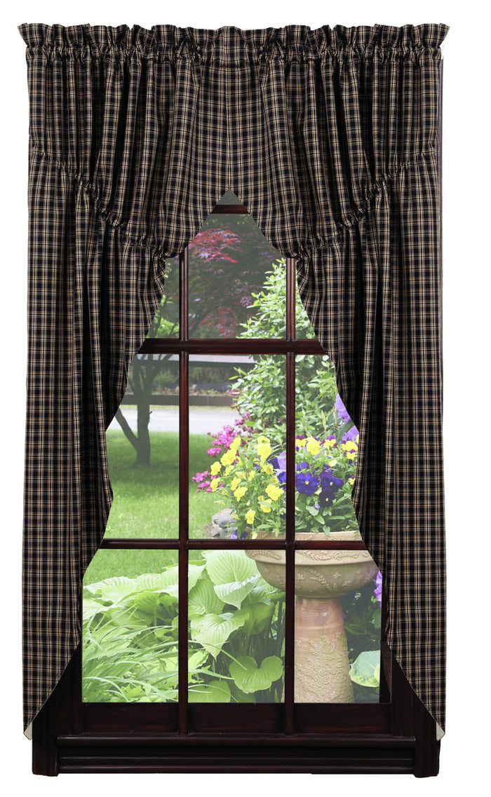 Cambridge Black & Tan Plaid Prairie Curtain