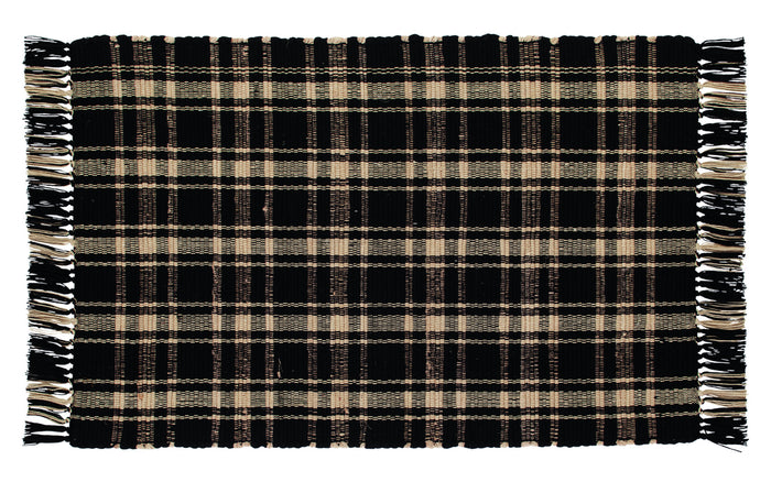 Black & Tan Plaid Rag Rug 24x42