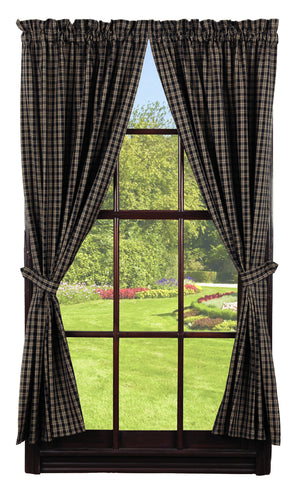 "Black & Tan Plaid Panel Curtain 63""L"