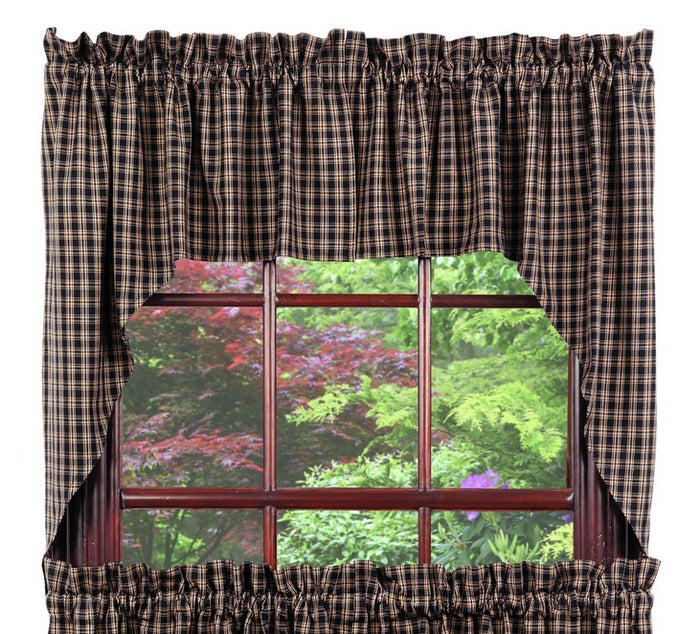 Cambridge Black & Tan Plaid Swag Curtain