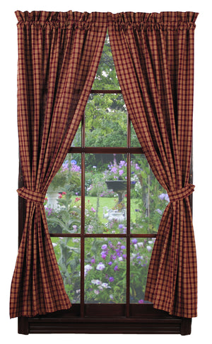 "Burgundy & Tan Plaid Lined Panel Curtain 84""L"