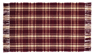 Burgundy & Tan Plaid Rag Rug 24x42
