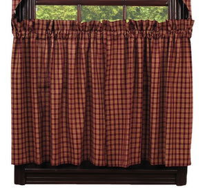 "Burgundy & Tan Plaid Tiers 36""L"