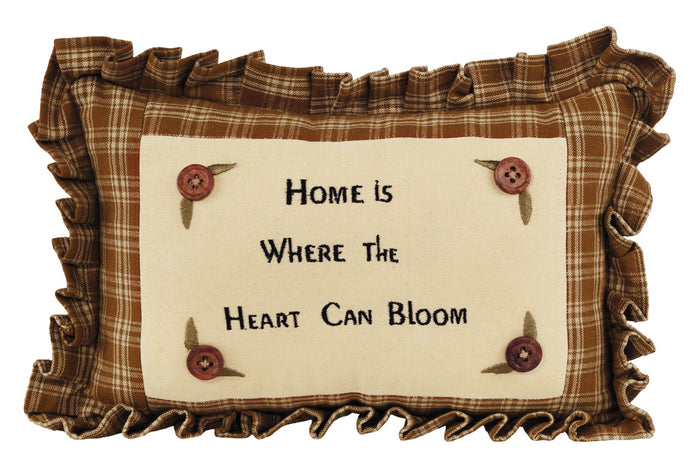"Mustard & Plaid ""Home is Where...."" Pillow"