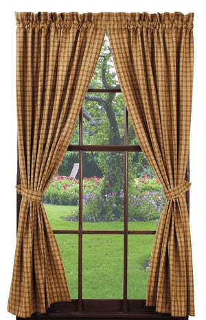 "Mustard & Tan Plaid Lined Panel Curtain 84""L"