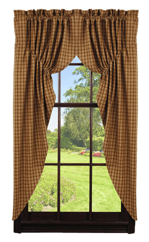 Mustard & Tan Plaid Prairie Curtain
