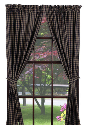 "Navy & Tan Plaid Lined Panel Curtain 84""L"