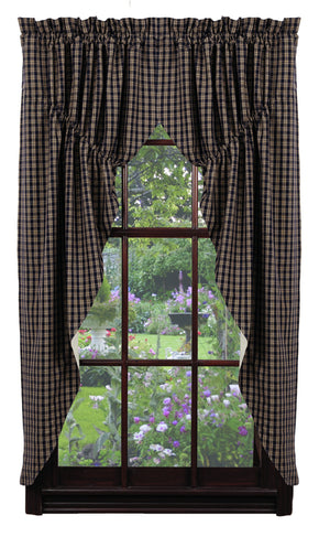 Navy & Tan Plaid Prairie Curtain