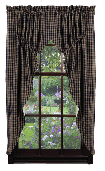 Cambridge Navy & Tan Plaid Prairie Curtain