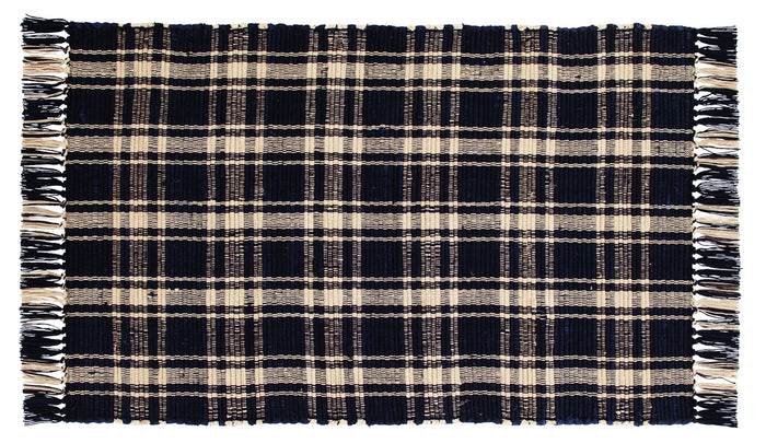 Navy & Tan Plaid Rag Rug 24x42